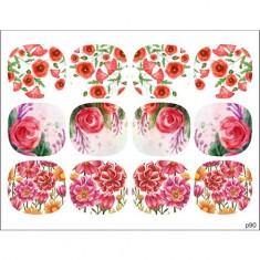 BPW.Style, Слайдер-дизайн «Цветы» №p90, для педикюра