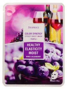 Маска с черникой и красным вином DEOPROCE Color synergy effect sheet mask purple 20г