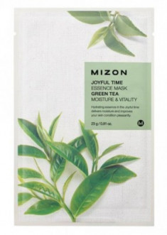 Тканевая маска с зеленым чаем MIZON Joyful time essence mask green tea 23г