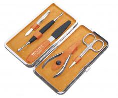 DEWAL PROFESSIONAL Набор маникюрный, чехол натуральная кожа, цвет желто-оранжевый, 5 предметов