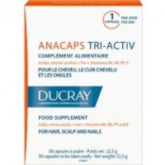 Ducray Аnacaps Tri-Activ Food Supplement - Капсулы для волос и кожи головы, 30 шт.