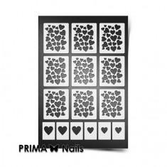 Prima Nails, Трафареты «Сердца», белые