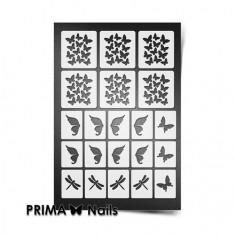 Prima Nails, Трафареты «Бабочки, стрекозки», белые
