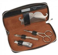 DEWAL PROFESSIONAL Набор мужской для бороды, усов и ногтей, чехол натуральная кожа, цвет черный, 5 предметов / FOR MEN