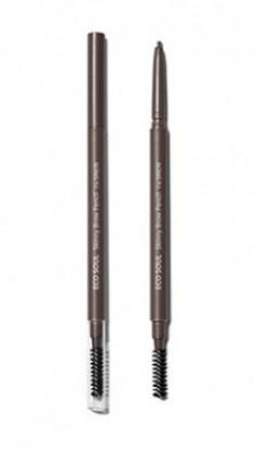 Карандаш для бровей Eco Soul Skinny Brow Pencil 03 Dark Brown The Saem