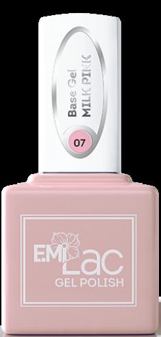 E.MI База камуфлирующая для ногтей, № 07 молочный розовый / E.MiLac Base Gel 9 мл
