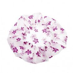 Dewal, Шапочка для душа, белая с фиолетовыми цветами
