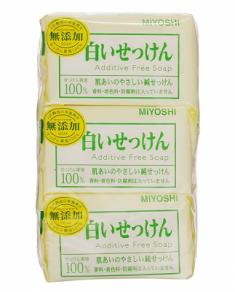 Мыло туалетное на основе натуральных компонентов Miyoshi Additive free soap bar 108г*3шт